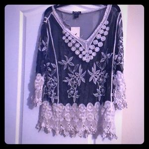 Black and white lace blouse